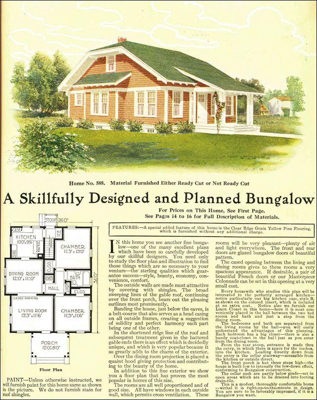 images about Arts  amp  Crafts House Plans   Gordon Van Tine on     Clipped Gable Bungalow Cottage   Gordon Van Tine Kit Homes   Model No