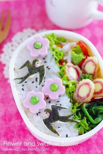 Sweetly gorgeous swallow adorned bento lunch. #rice #bento #food #lunch #Japanese #Japan #swallows #birds #cute #kawaii