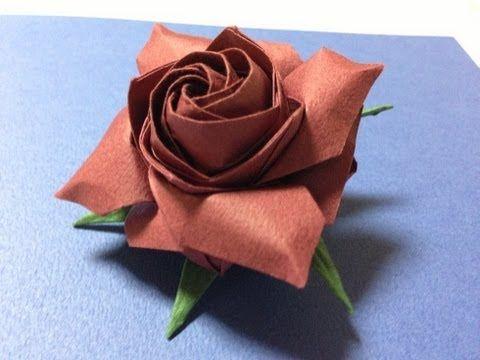 達人折りのバラの折り紙 10 Only one origami rose 10 - YouTube