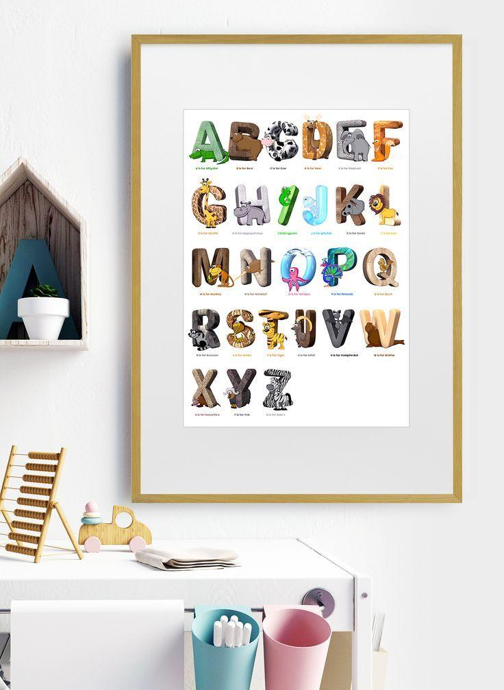 Framed Animal Alphabet Print / Animal Art / A-Z Animals 🦁🦊🐵