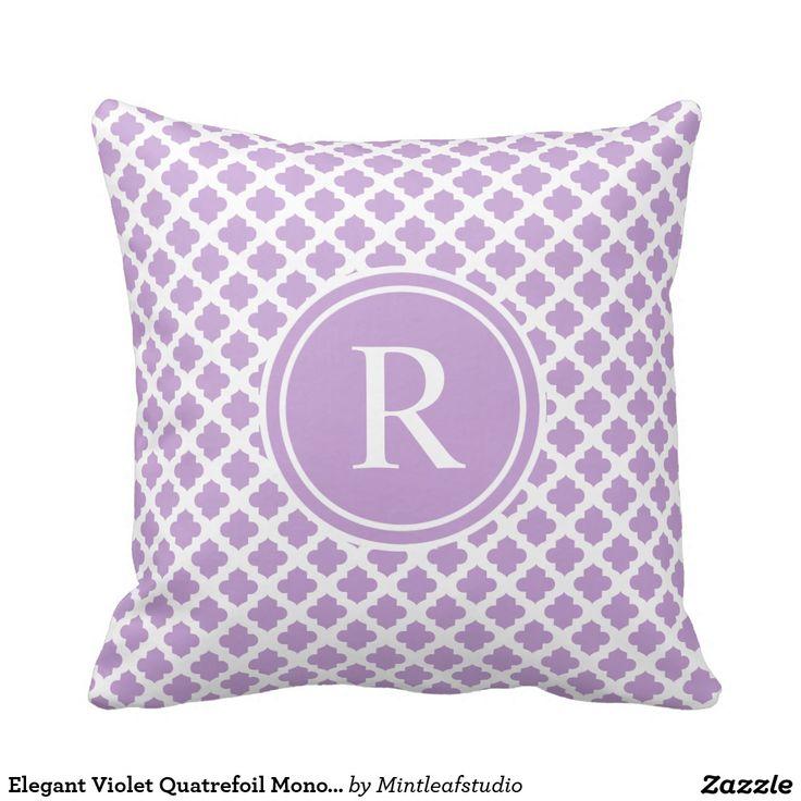 Elegantes violettes Quatrefoil Monogramm Kissen