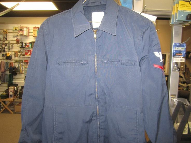 U.S. Navy Utility Jacket Man's Blue. Original with issued Insignia ...