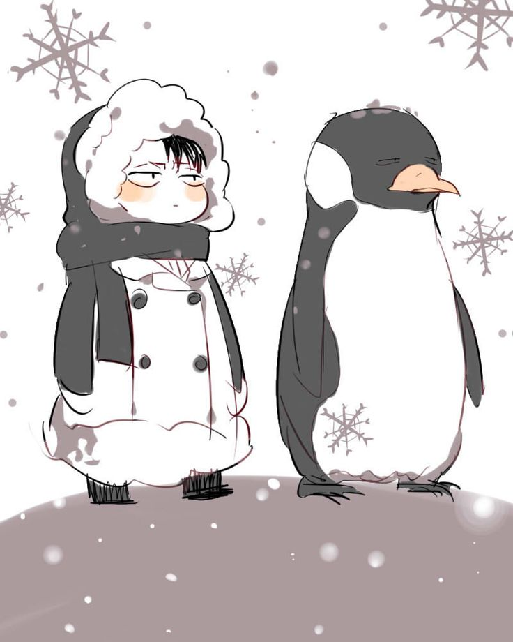 Attack on Titan / Shirokuma Café ~~ When they talk to each other, their voices are identical. :: Chibi Levi and Chibi Penguin