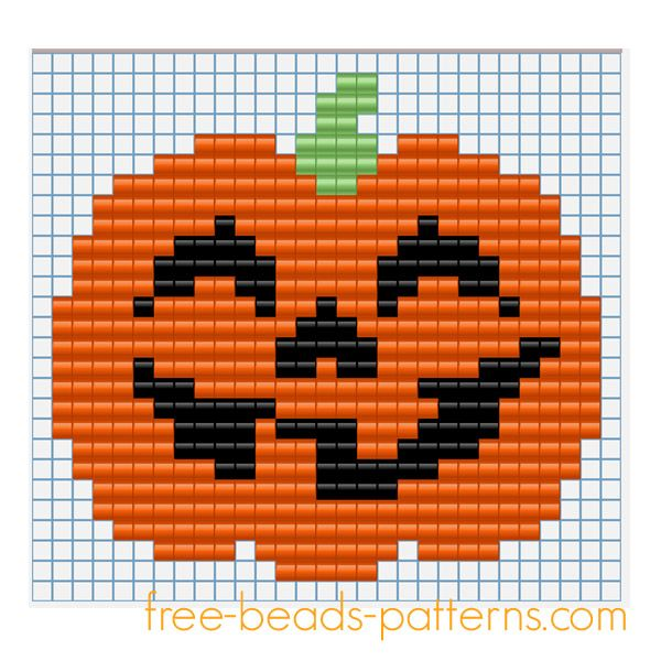 Halloween pumpkin free fusion beads seed beads pattern for children
