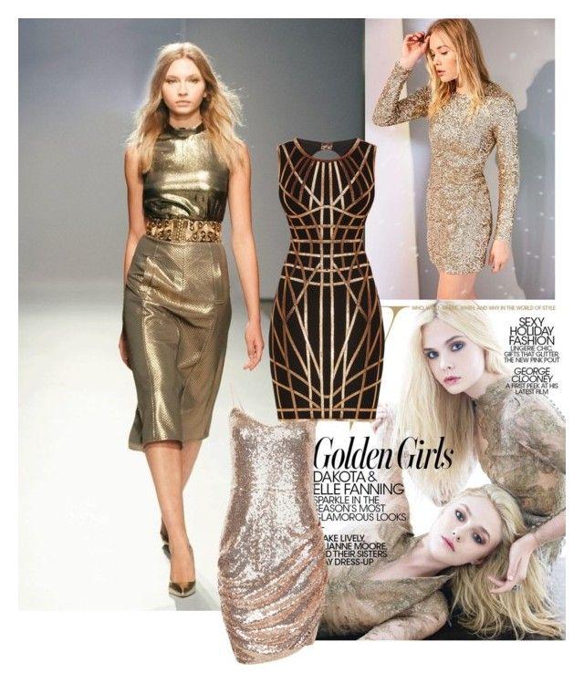"""Golden girls"" by roseleendsouza on Polyvore featuring Kimchi Blue and Hervé Léger"