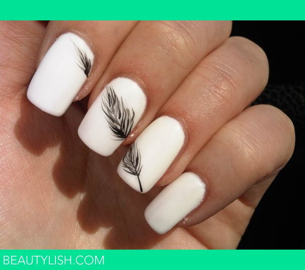 White Feather Nail.. somehow its classy ..
