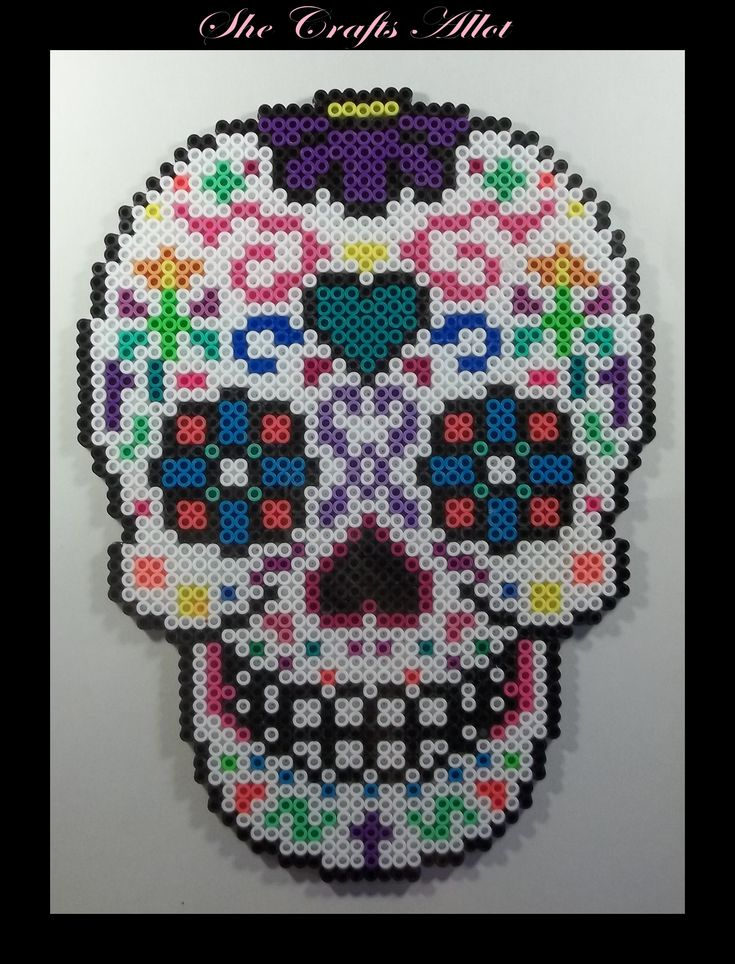 Perler Bead, Colorful Sugar Skull Pattern. Halloween