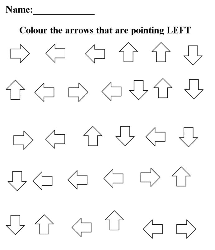 left/right worksheets