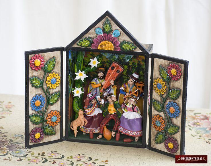 Retablo hecho a mano de madera y ceramica pintada for Regalos decoracion hogar