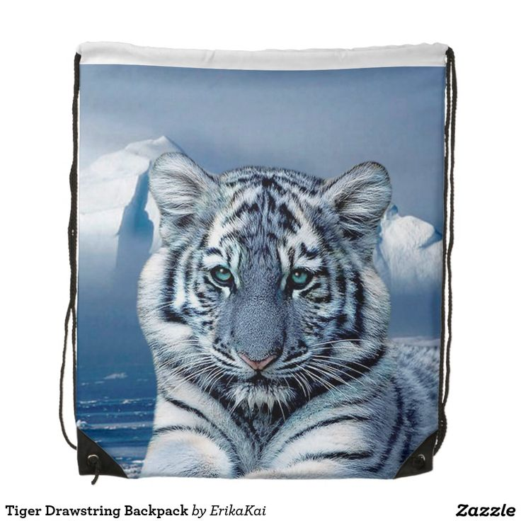 """Blue White Tiger Drawstring Backpack. 100% polyester. Dimensions: 14.75"""" x 17.3""""."""