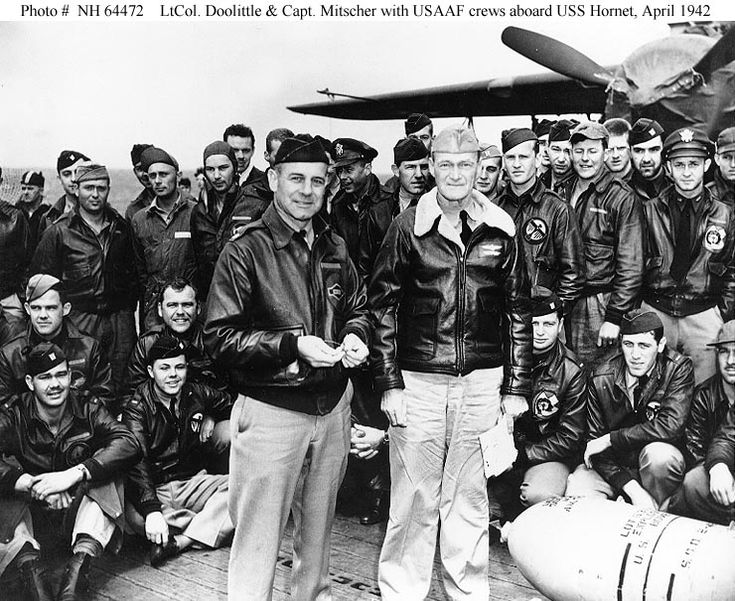 LtCol Doolittle, Capt Mitscher, and crew on the Hornet CV8 before the Doolittle raid