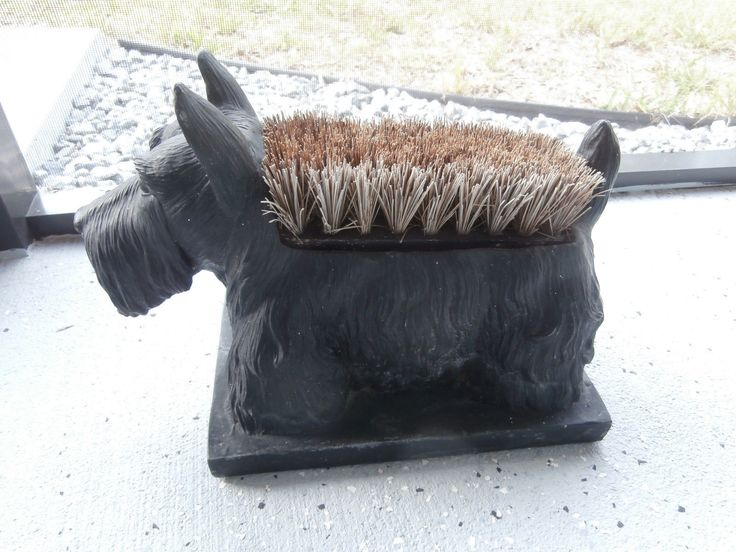 SCOTTIE DOG BRUSH TOPPED BOOT SCRAPER. THIS HAS BEEN ON A COVERED BACK PORCH (LANAI-in FLORIDA) FOR A FEW YEARS. I, DON'T THINK THAT, ANYONE EVER USED IT BUT IT LOOKED CUTE BY THE DOOR. I GUESS YOU CAN SAY THAT ITS BEEN OUT IN THE WEATHER BUT NOT EXTREME WEATHER- JUST SUN AND DEWEY MORNINGS. | eBay!