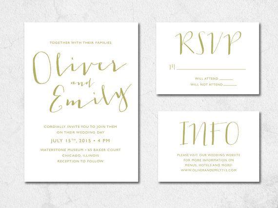 Handwritten Wedding Invitation, Printable Wedding Invitation, Digital File, Wedding Set on Etsy, $15.00