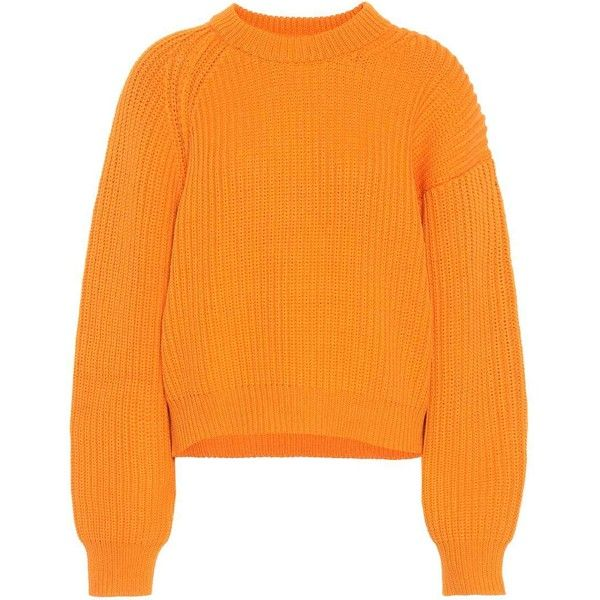 Acne Studios Penina Cotton-Blend Sweater (1 330 PLN) ❤ liked on Polyvore featuring tops, sweaters, knitwear, orange, sweatshirts, orange sweater, orange top, acne studios and acne studios sweater