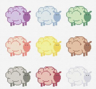 hancock's house of happy: Everyone is a Little Bit Ewe-nique: A Rather Sheepish Free Cross Stitch Chart
