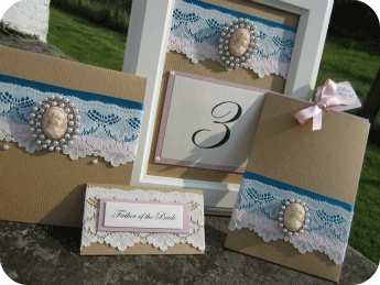 White Crafts Wedding Blog - vintage cameo wedding invitations, placecard, menu, table number