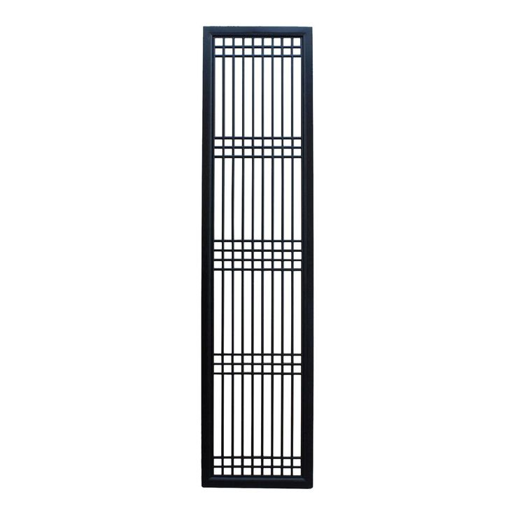 Tall Black Lacquer Wood Window Door Panel Partition Screen - Image 1 of 6