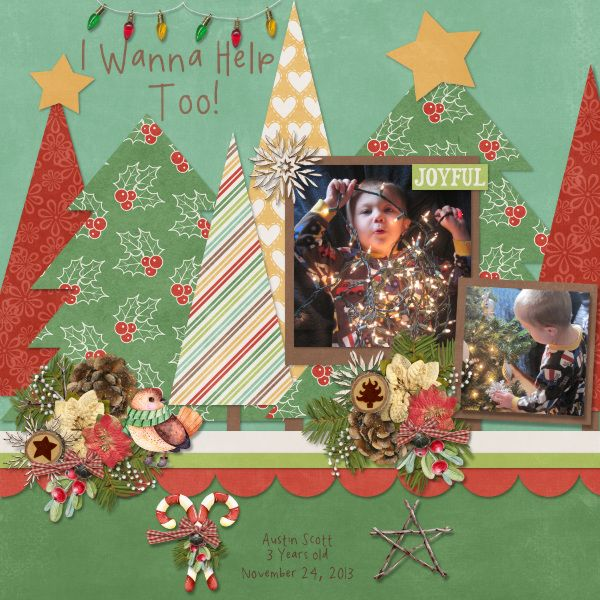 Holiday Cheer Kit, Template, and Extra Papers by Connie Prince  Font: Spookydeee Handwriting