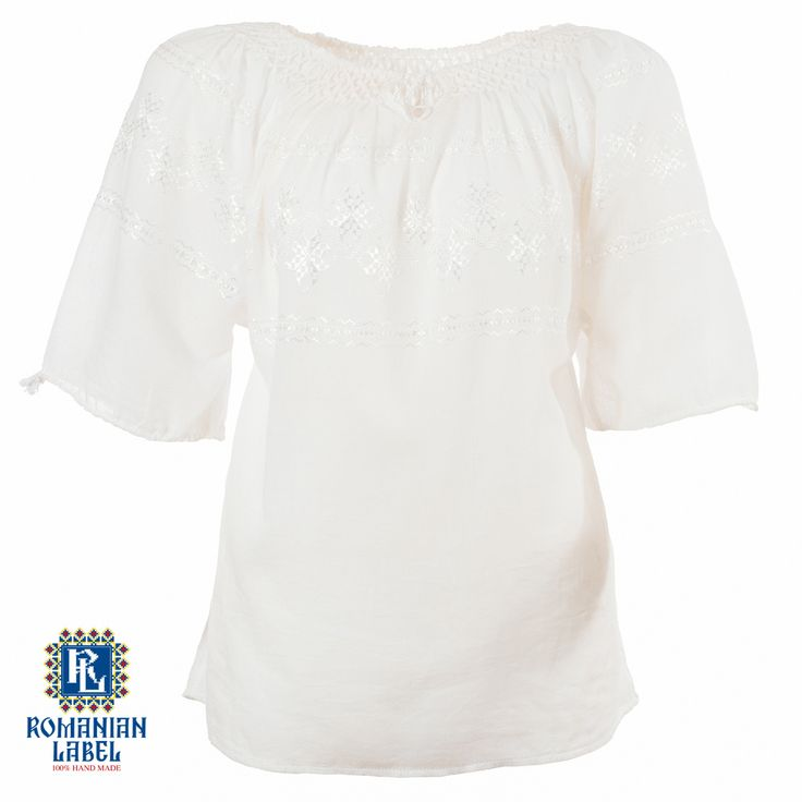 $84.20 A 100% hand made traditional blouse, exclusively tailored out of natural materials, such as white cotton and white silk embroidery.