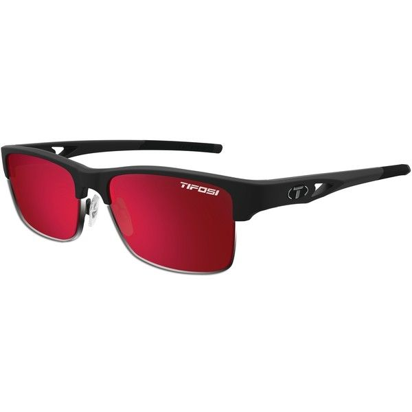 Tifosi Sunglasses - Highwire Matte Black Swivelink w/ Smoke Red Lenses (£64) ❤ liked on Polyvore featuring accessories, eyewear, sunglasses, red glasses, lens sunglasses, matte sunglasses, tifosi sunglasses and tifosi glasses