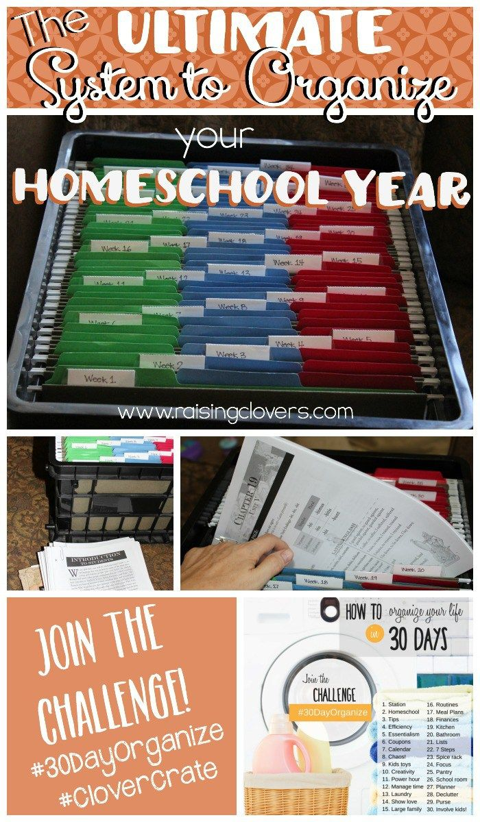 "The Ultimate System to Organize Your Homeschool Year by Raising Clovers - With homeschooling comes ""stuff!"" Lots of ""stuff!"" After years of trying different ways to stay organized, I finally found the best way to stay organized--and plan out our entire year in one little crate. Take the #CloverCrate Challenge & try it out today!"