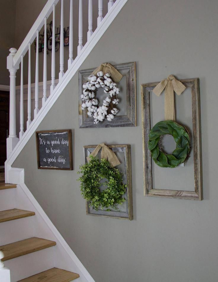 Farmhouse wreath, Gallery Wall Decor, Rustic Decor, Fixer Upper Decor, Wreath in frame, Cottage wreath, Eucalyptus Wreath, Cotton Wreath Art For Home Decor