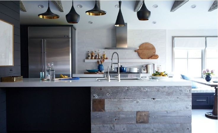 modern rustic farmhouse kitchen with tom dixon pendants
