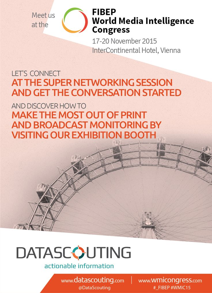 DataScouting attending the #_FIBEP #WMIC15 in #Vienna. Let's connect and talk about #mediamonitoring.