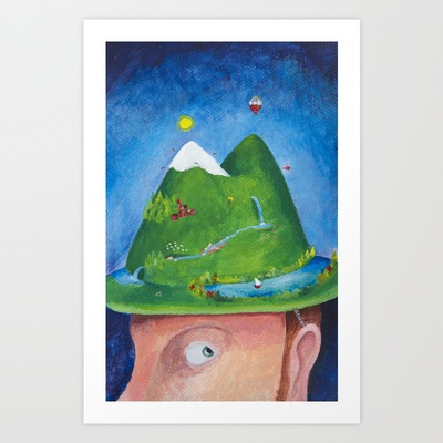 My alpine hat Art Print by Elena Goatelli - $20.00