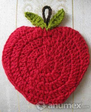 Apple crochet coaster or potholder