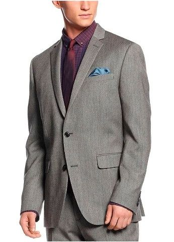 Bar iii mens gray wool striped two button blazer products