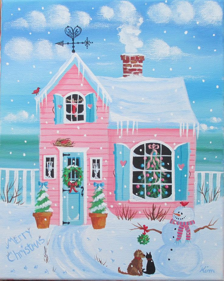 Folk Art Prints | Holly Lane Cottage Folk Art Print by KimsCottageArt on Etsy