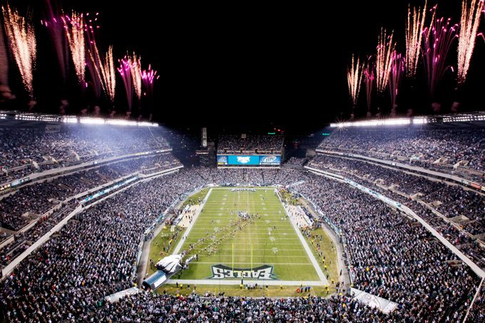 "Planning a stadium road trip? Lincoln Financial Field, home of the Philadelphia Eagles, can seat more than 68,000 football fans. In 2013, ""The Linc"" was named the greenest NFL stadium to date with 11,000 solar panels and 14 wind turbines."