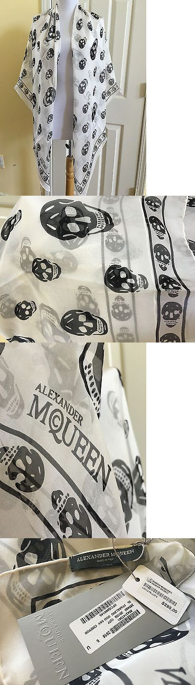 Scarves and Wraps 45238: New Nwt Authentic Alexander Mcqueen Silk Skull Scarf White -> BUY IT NOW ONLY: $99 on eBay!