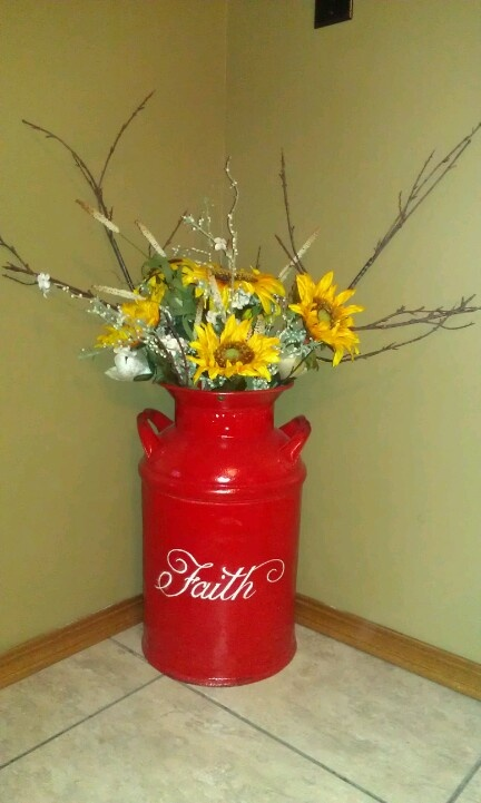 17 best images about painted milk cans on pinterest for Repurposed milk cans