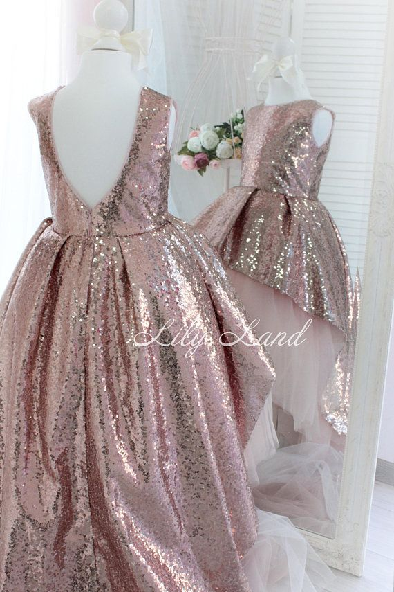 25c67a4ae42 Rose Gold sequin Girl dress with train tutu dress girls dress for ...