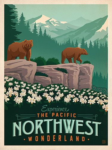 Macy's Flower Show: Northwest - This classic print is part of a series of posters called America the Beautiful. Six different regional designs were created for the 2016 Macy's Flower Show. Printed on gallery-grade matte-finished paper, this lovely Northwest print will add an adventurous touch of floral beauty to any home or office wall.