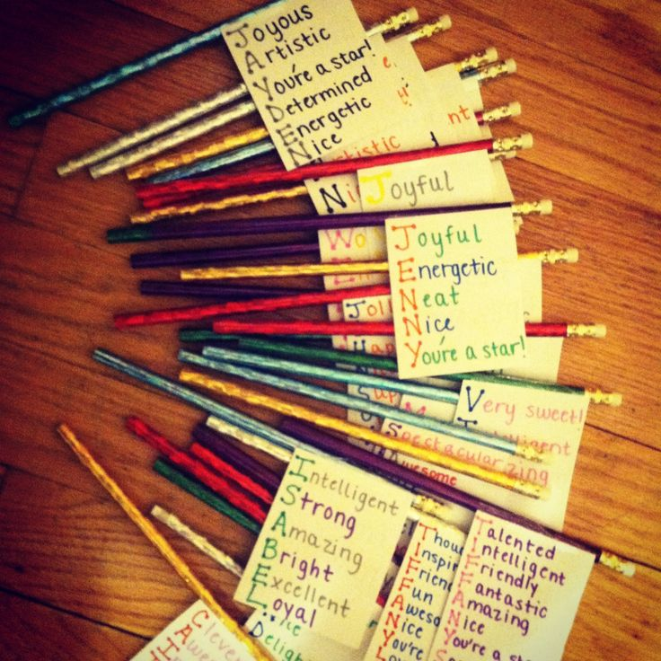 Goodbye gift: index cards, pencils, and a word for every letter in a child's name.