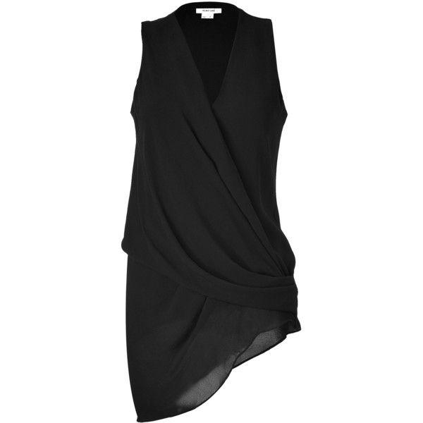 HELMUT LANG Black Sleeveless Draped Top (€205) found on Polyvore