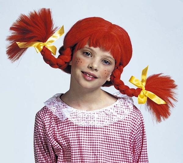 Orangerød Pippi børneparyk. Pris kr. 95,-
