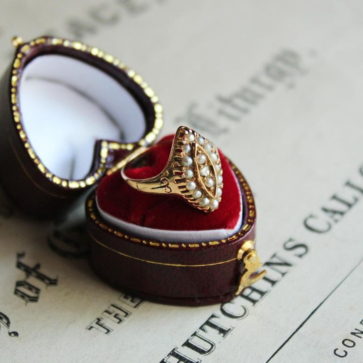 C.1880s Victorian Diamond & Seed Pearl Navette Ring / ヴィクトリアン・アンティークリング