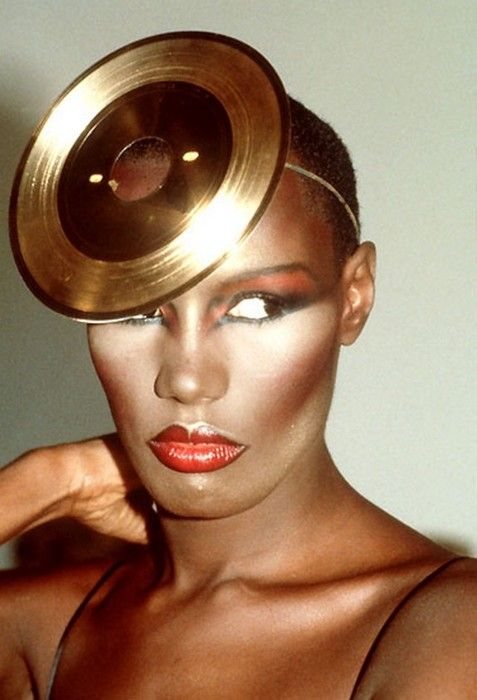Let's get some old 45 records and spray paint them and use for party hats?  GRACE JONES