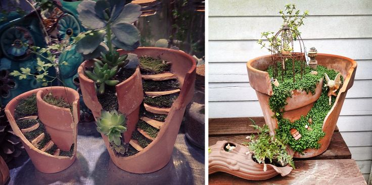 Broken Pots Turned Into Brilliant DIY Fairy Gardens | Bored Panda