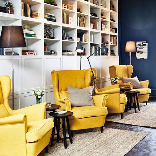Fauteuil jaune en tissu a oreilles ikea en 2019 | Chaise ... - Fauteuil Salon Ikea