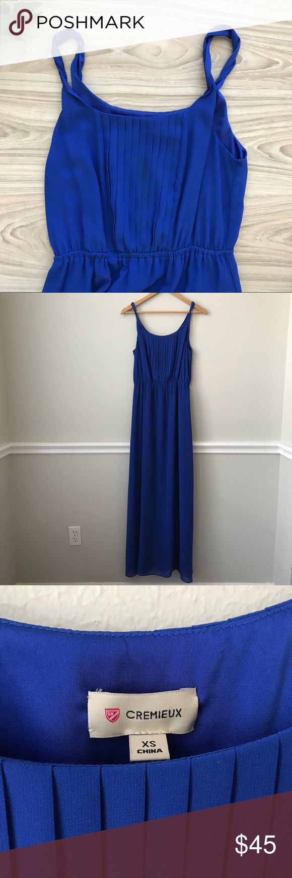 • Cremieux • Pleated Royal Blue Maxi Dress Sz Xs Gorgeous Cremieux Maxi Dress size Xs. This dress I'm in excellent condition with no signs of wear. It would be perfect for a vacation or even as a bridesmaids dress for a wedding. Shell-100% Polyester, Lining: 97% Polyester, 3% Spandex    Shoulder to Shoulder: 10 inches    Bust: 16.5 inches    Total Length: 56 inches    Daniel Cremieux Dresses Maxi