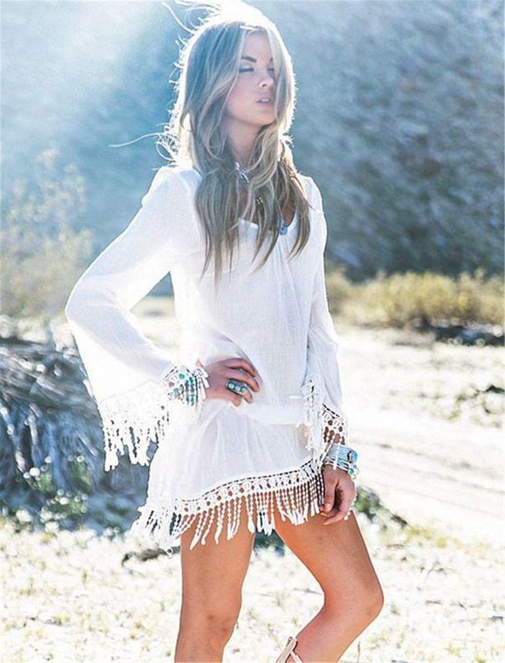 Strandkleid Tunika Bluse im Boho Hippie Style in weiß mit Fransen Gr.S in Kleidung & Accessoires, Damenmode, Kleider | eBay