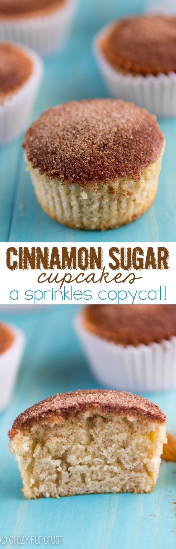 Cinnamon Sugar Cupcakes - a Sprinkles Bakery Copycat Recipe! An easy cupcake recipe that's fool proof and full of cinnamon sugar.