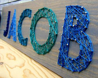 Modern String Art Wooden Name Tablet 5 letters by NineRed on Etsy