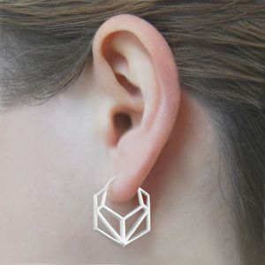 Geometric Hexagonal Sterling Silver Hoop Earrings
