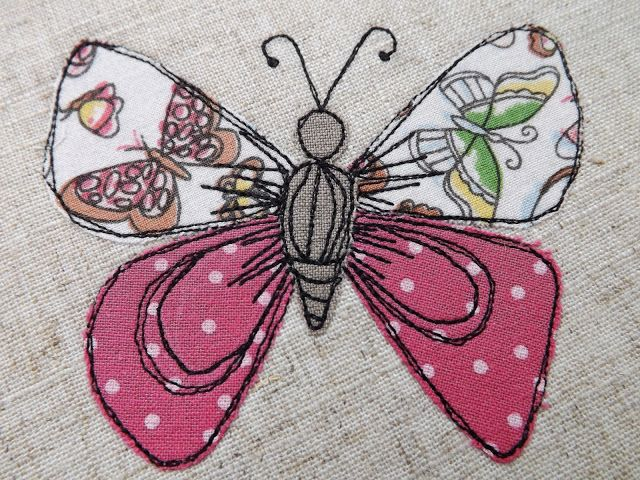 SewforSoul - Free-motion machine embroidery with applique butterfly